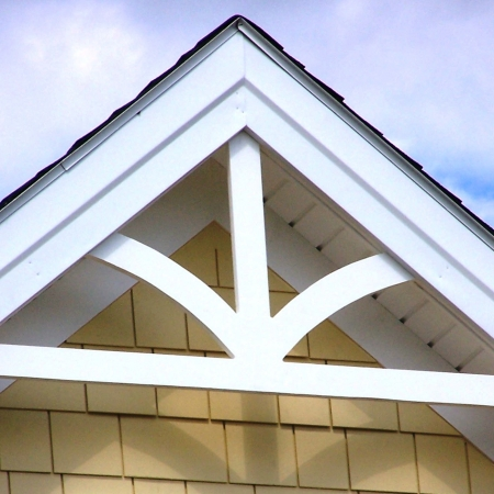 Gable pediments river valley custom millwork Gable accents